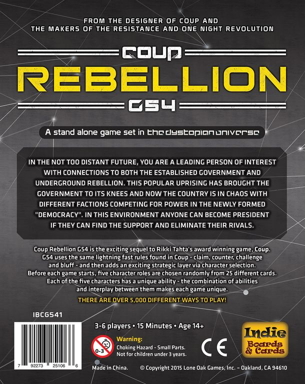 Coup: Rebellion G54 back of the box