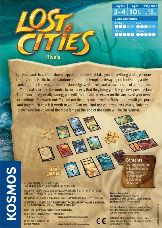 Lost Cities: Rivals back of the box