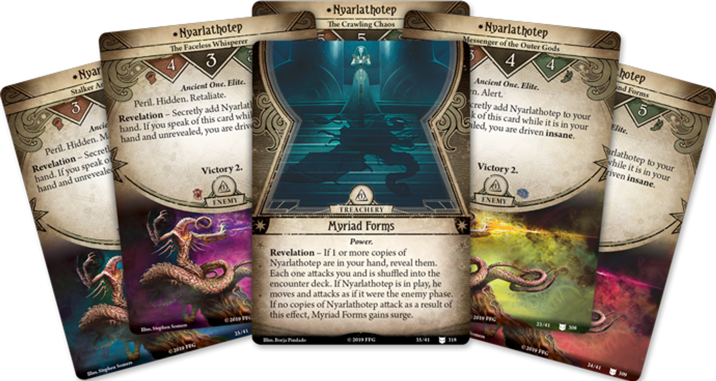 Arkham Horror: The Card Game – Where the Gods Dwell: Mythos Pack cards