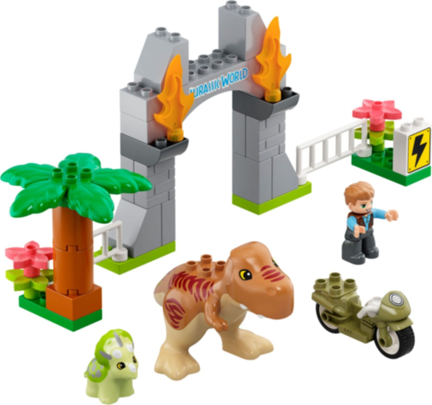 LEGO® DUPLO® T. rex and Triceratops Dinosaur Breakout components