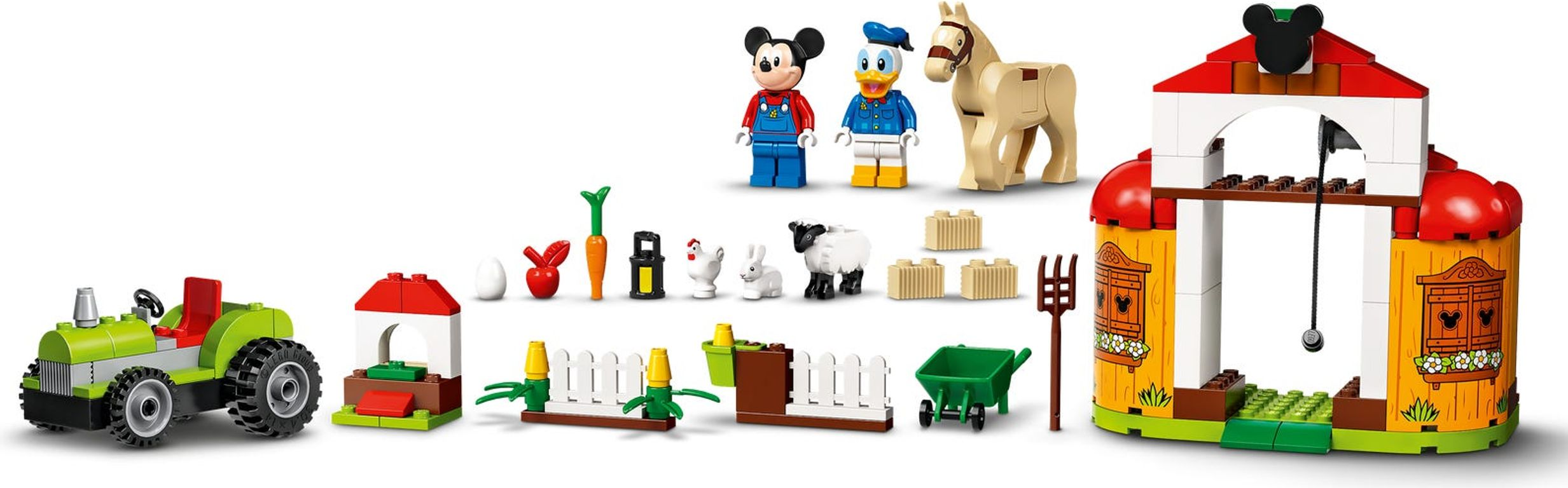 LEGO® Disney Mickey Mouse & Donald Duck's Farm components