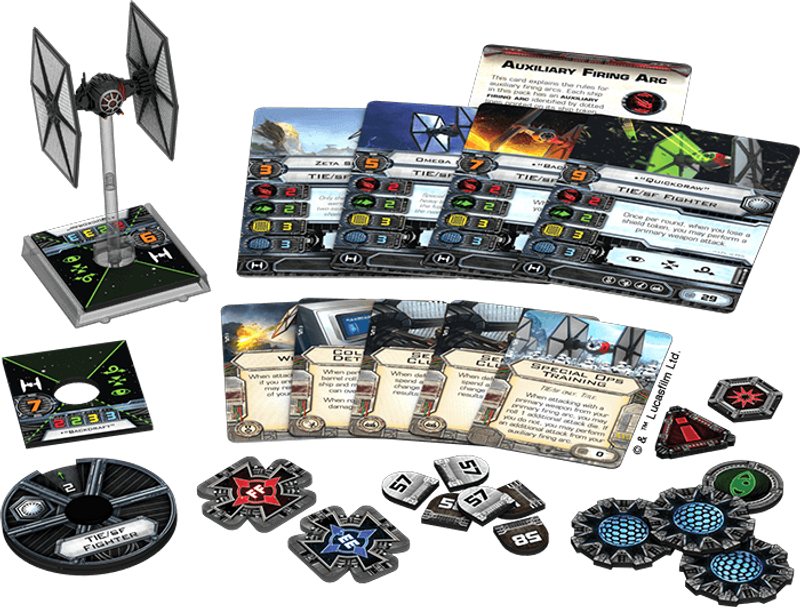 Star Wars: X-Wing Miniatures Game - Special Forces TIE Expansion Pack components