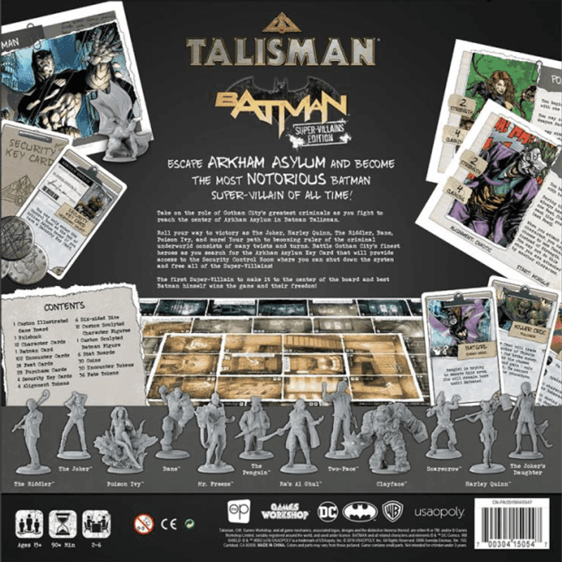 Talisman: Batman - Super-Villains Edition back of the box