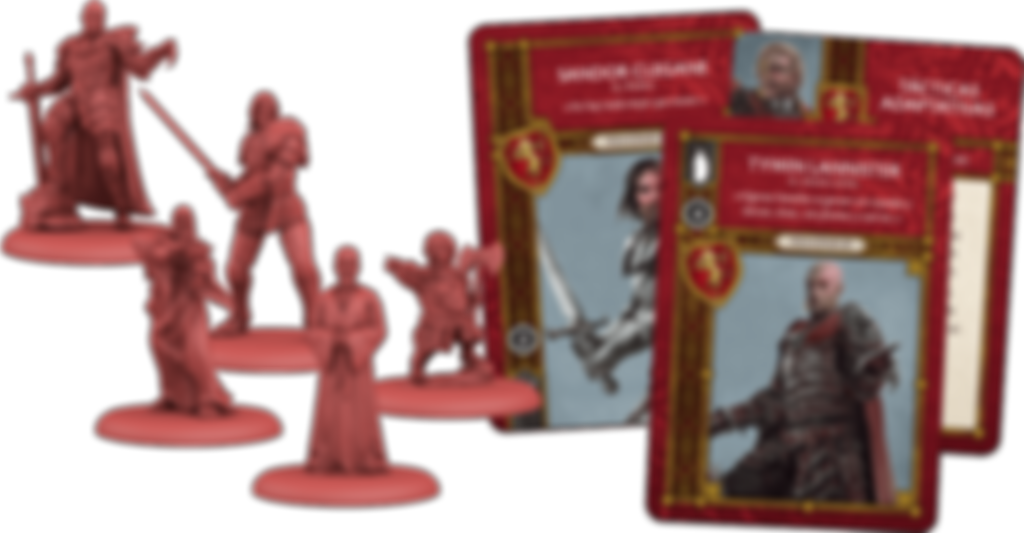 A Song of Ice & Fire: Tabletop Miniatures Game - Lannister Heroes I components