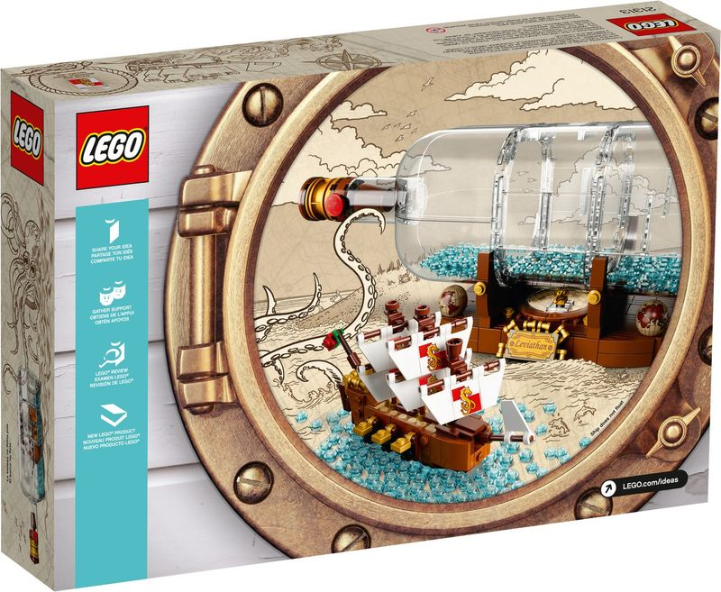 LEGO® Ideas Ship in a Bottle back of the box