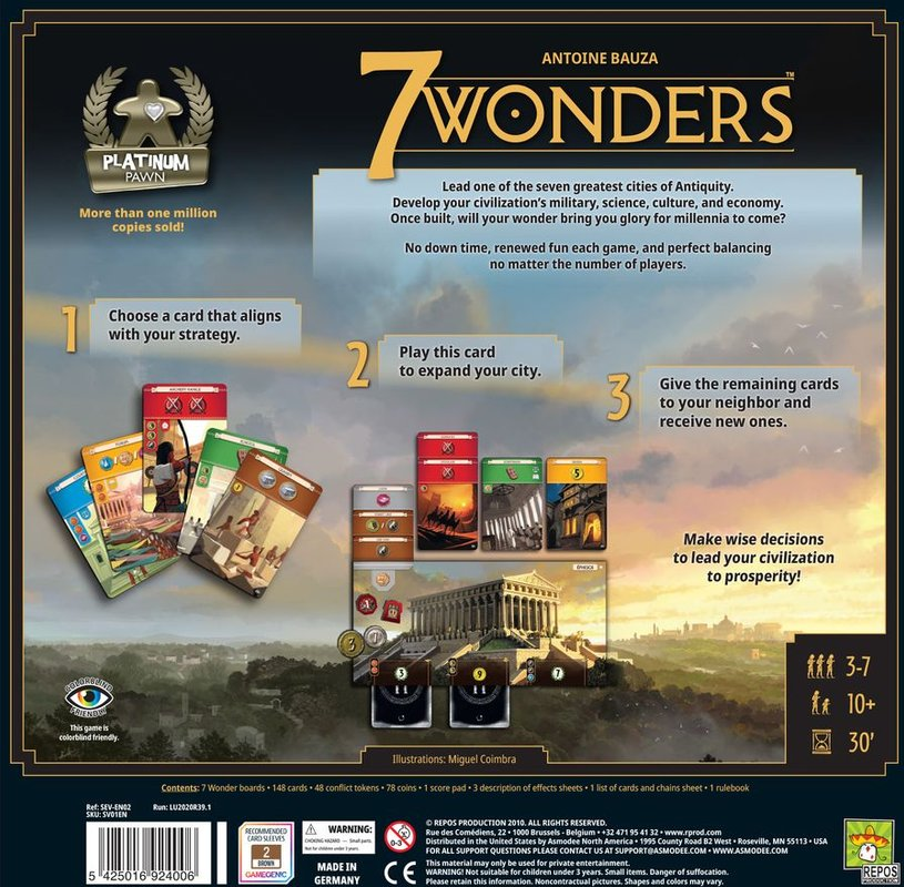 7 Wonders (Second Edition) back of the box