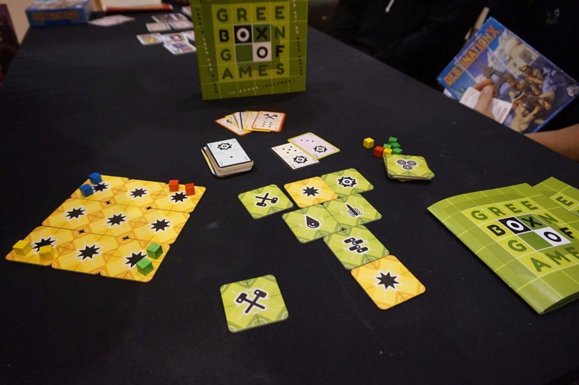 Green Box of Games components