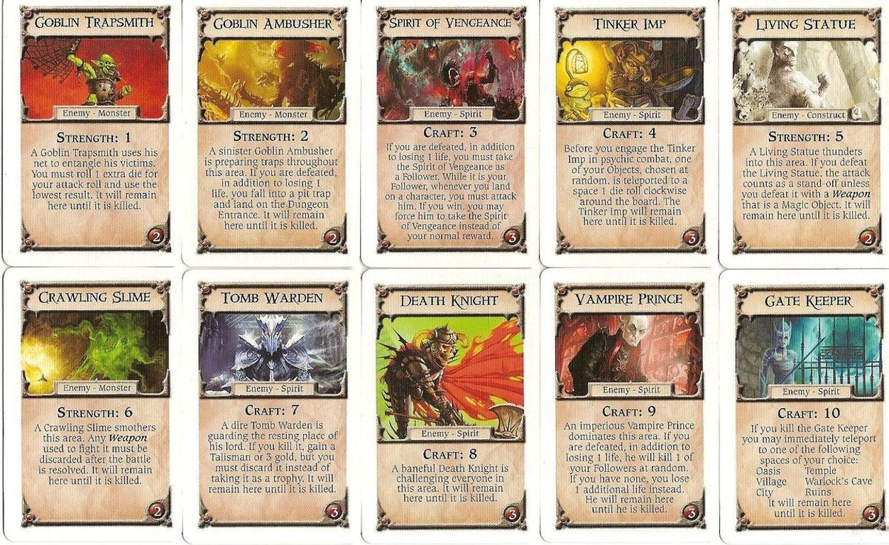 Talisman (Revised 4th Edition): The Dungeon Expansion cards