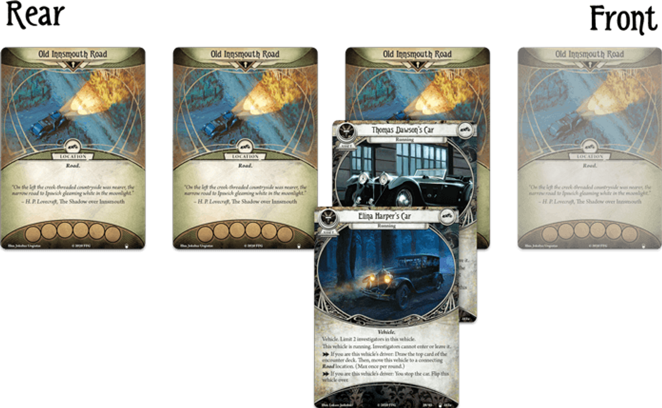 Arkham Horror: The Card Game – Horror in High Gear: Mythos Pack cards
