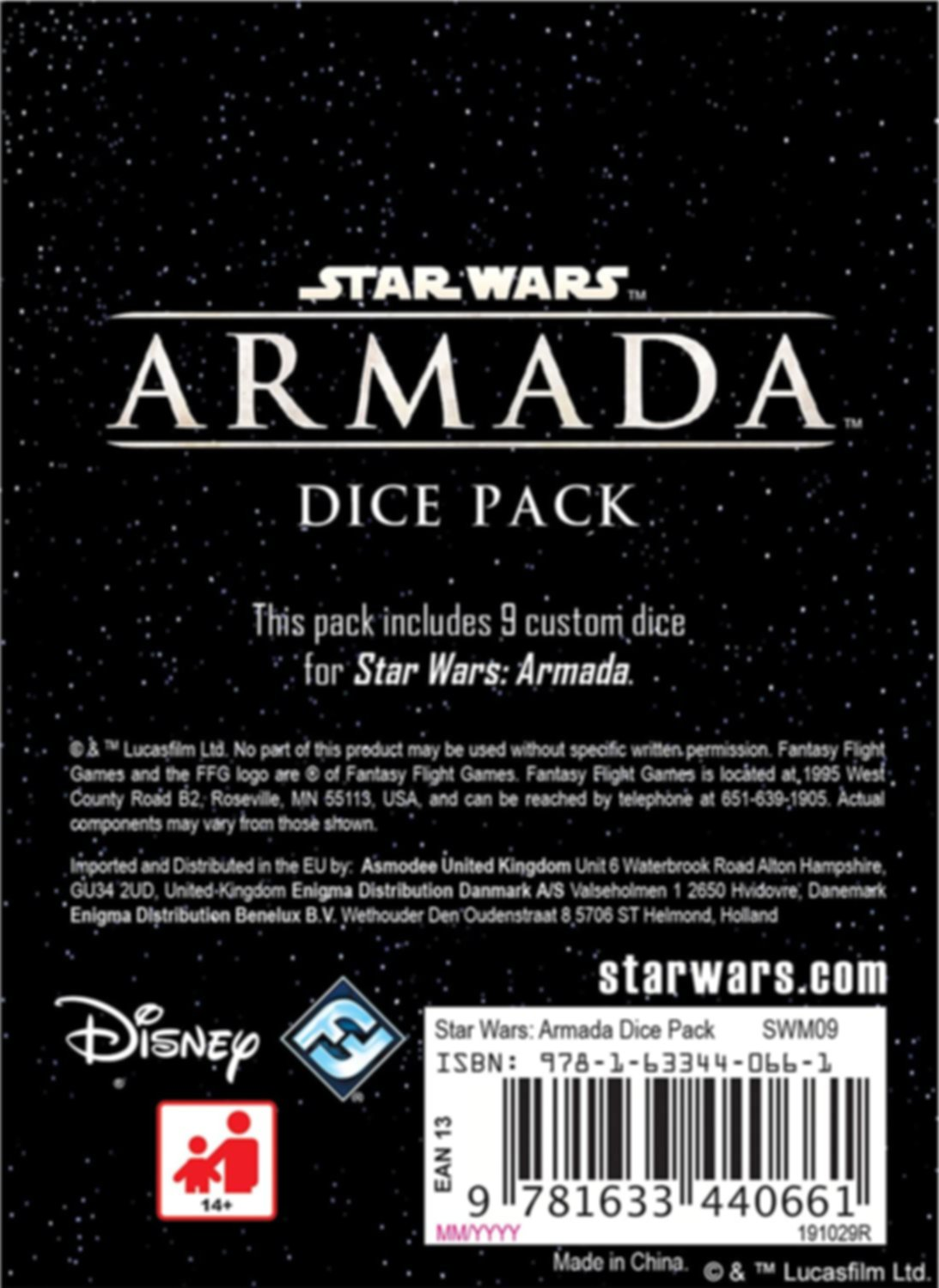 Star Wars Armada: Dice Pack back of the box