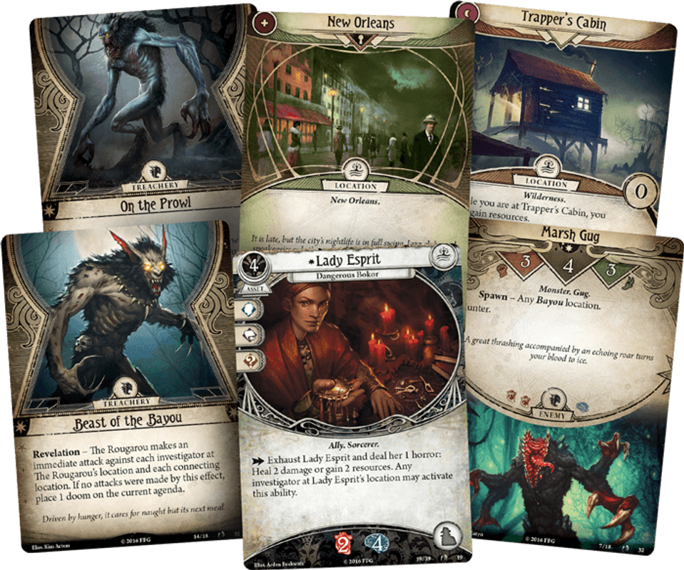 Arkham Horror: The Card Game - Curse of the Rougarou - Scenario Pack cards