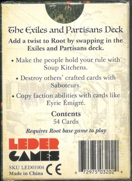 Root: The Exiles and Partisans Deck back of the box