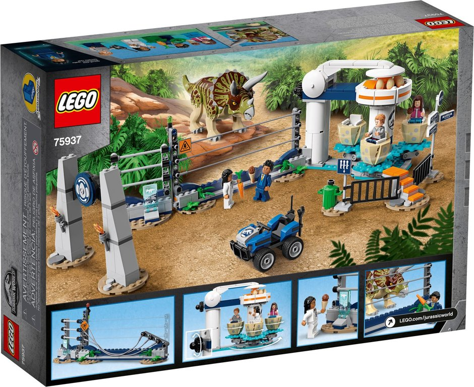 LEGO® Jurassic World Triceratops Rampage back of the box