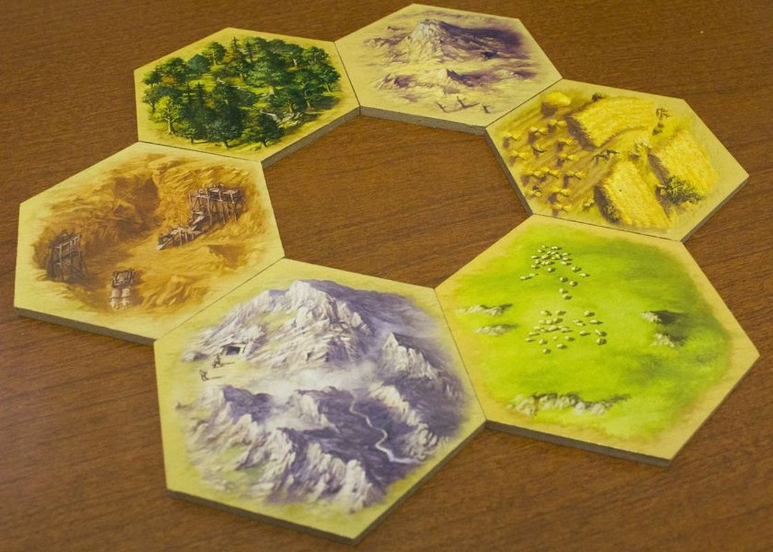 The Settlers of Catan: 15th Anniversary Wood Edition tiles