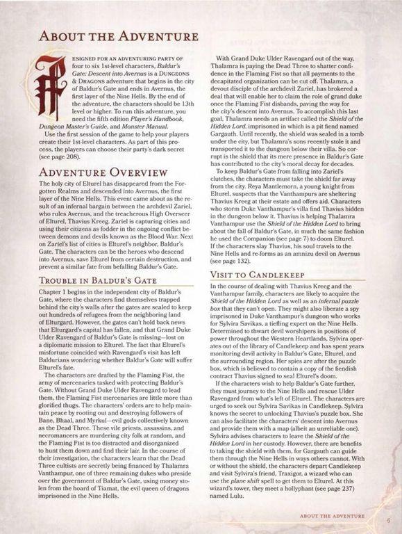 Baldur's Gate: Descent Into Avernus manual