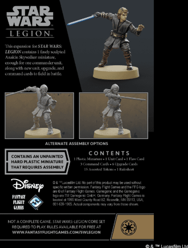 Star Wars: Legion – Anakin Skywalker Commander Expansion dos de la boîte
