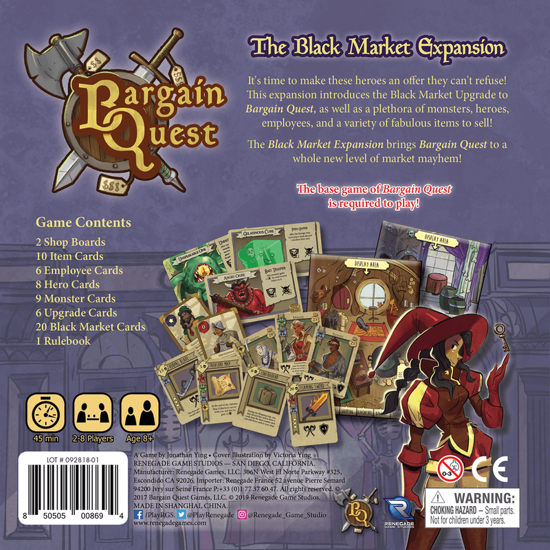 Bargain Quest: The Black Market Expansion back of the box
