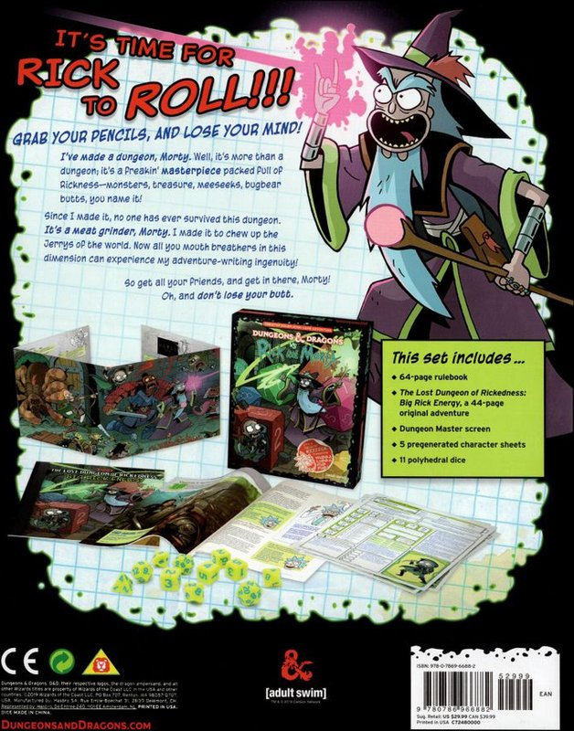 Dungeons & Dragons vs. Rick and Morty back of the box