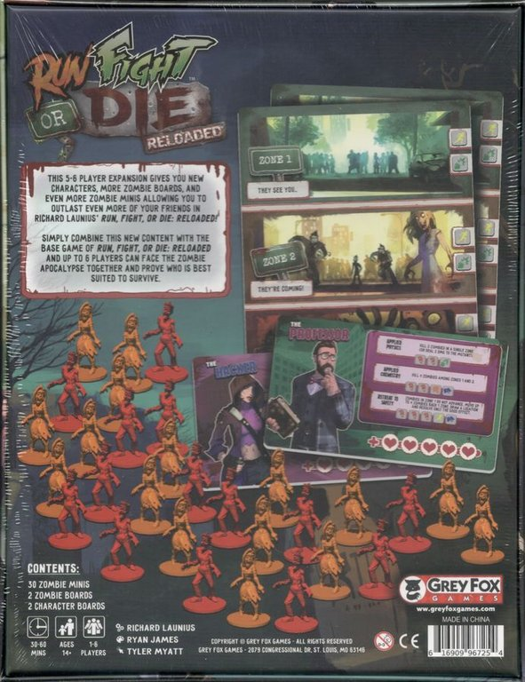 Run Fight or Die: Reloaded – 5-6 Player Expansion back of the box