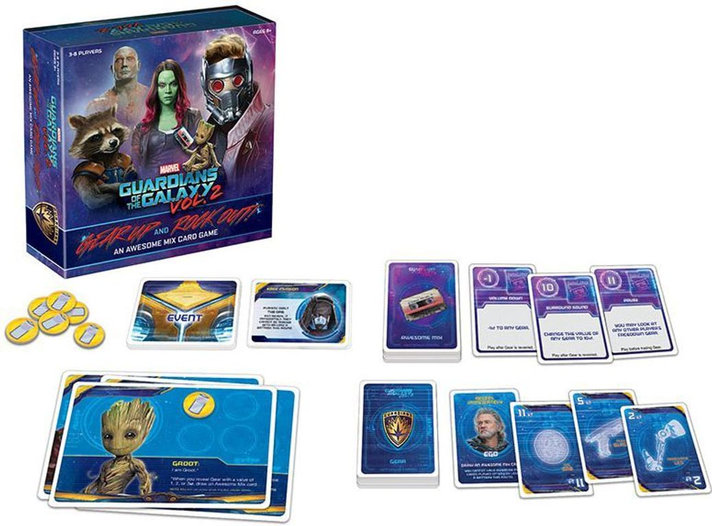 Guardians of the Galaxy, Vol. 2: Gear Up and Rock Out! An Awesome Mix Card Game components