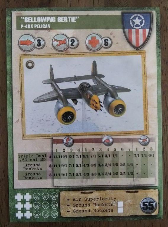 """Dust Tactics: Allies P-48 Pelican - """"Bellowing Bertie / Diving Dotty"""" components"""