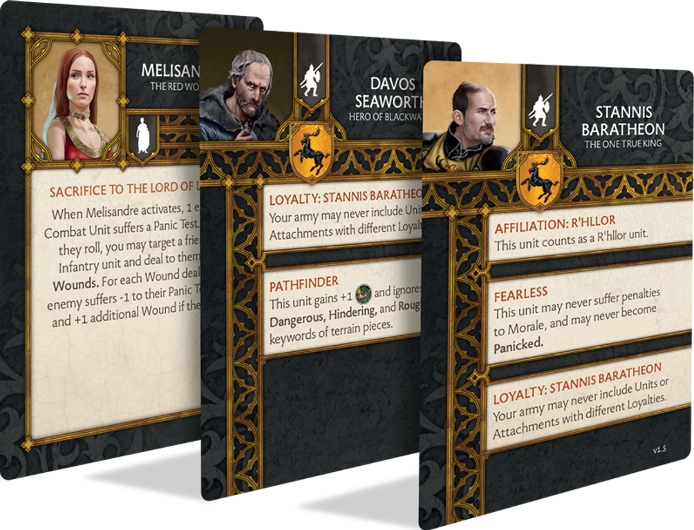 A Song of Ice & Fire: Tabletop Miniatures Game – Baratheon Heroes I cards