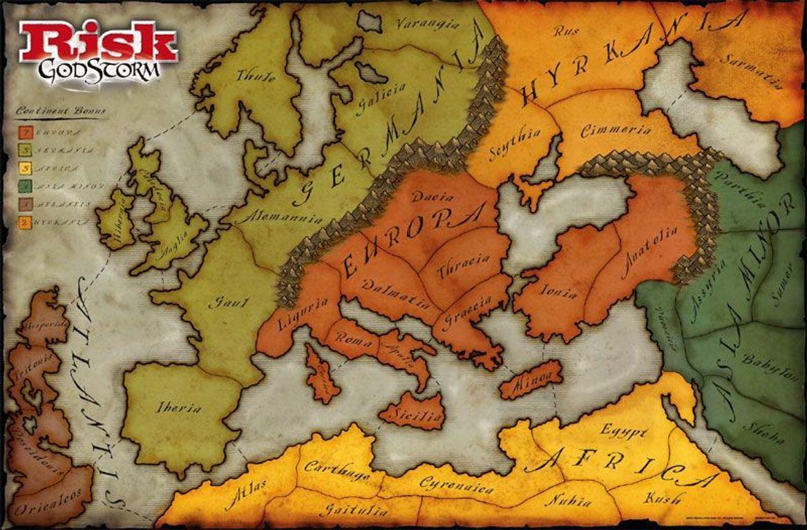 Risk: Godstorm game board