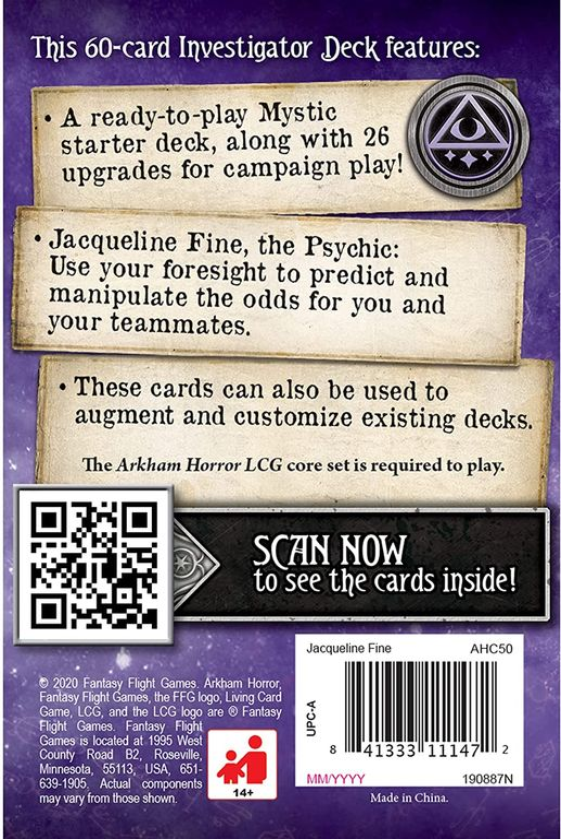 Arkham Horror: The Card Game – Jacqueline Fine: Investigator Starter Deck back of the box