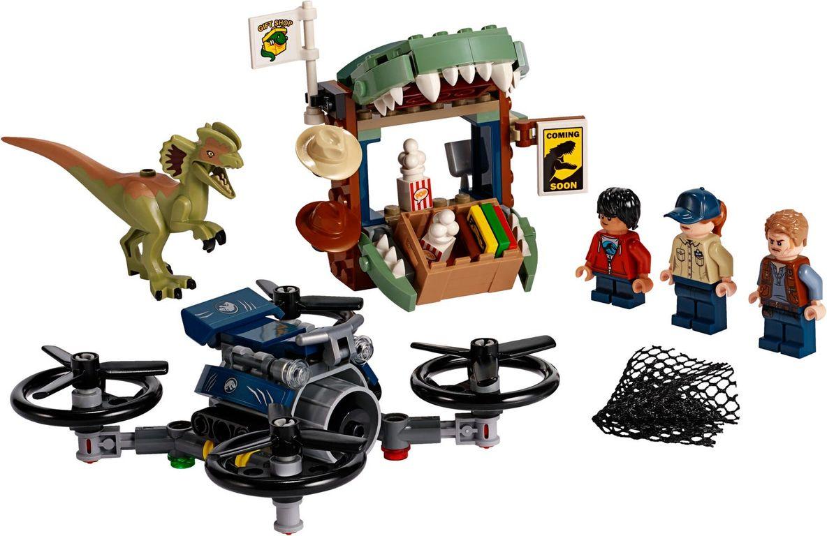 LEGO® Jurassic World Dilophosaurus on the Loose components