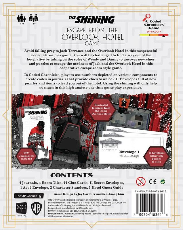 The Shining: Escape from the Overlook Hotel back of the box