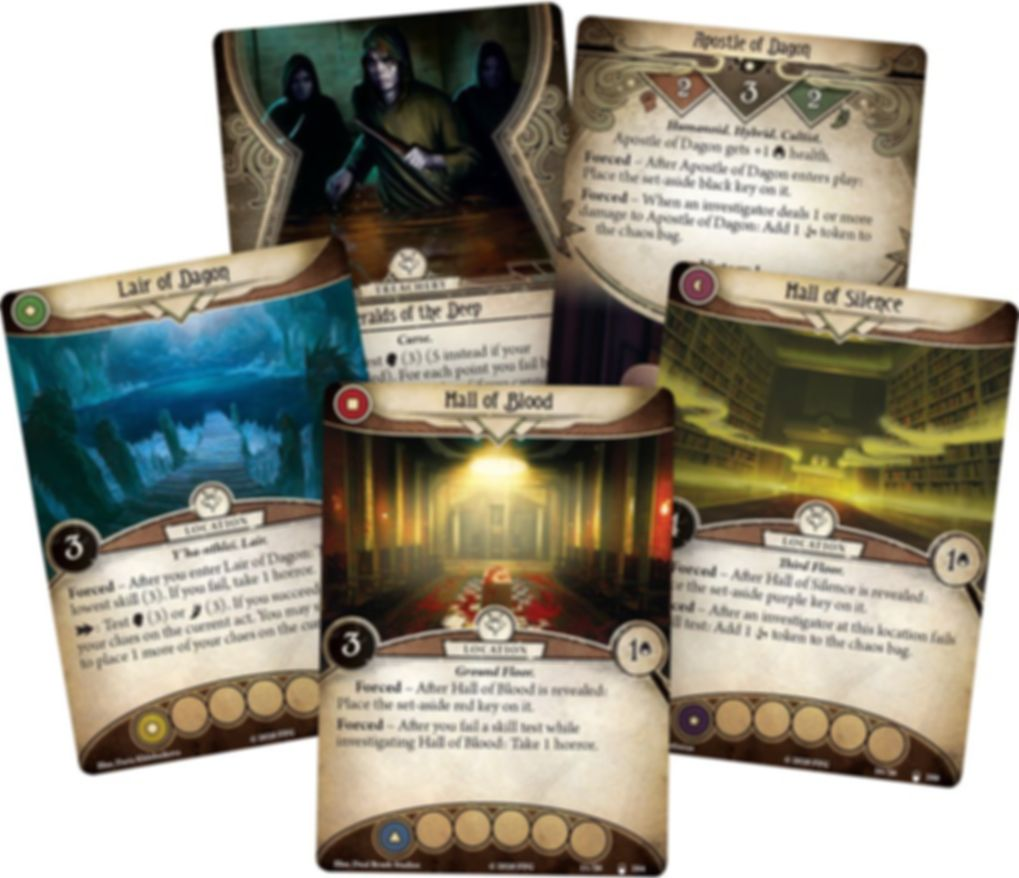 Arkham Horror: The Card Game – The Lair of Dagon: Mythos Pack cards