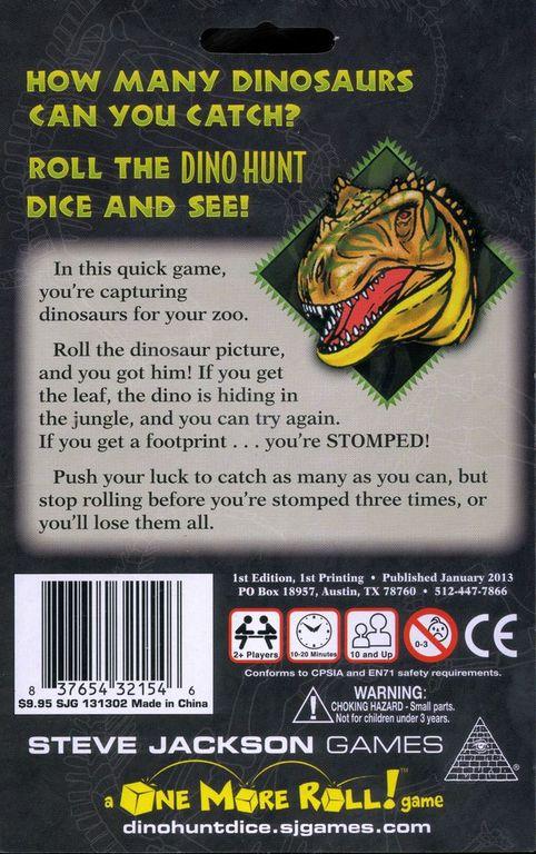 Dino Hunt dice back of the box
