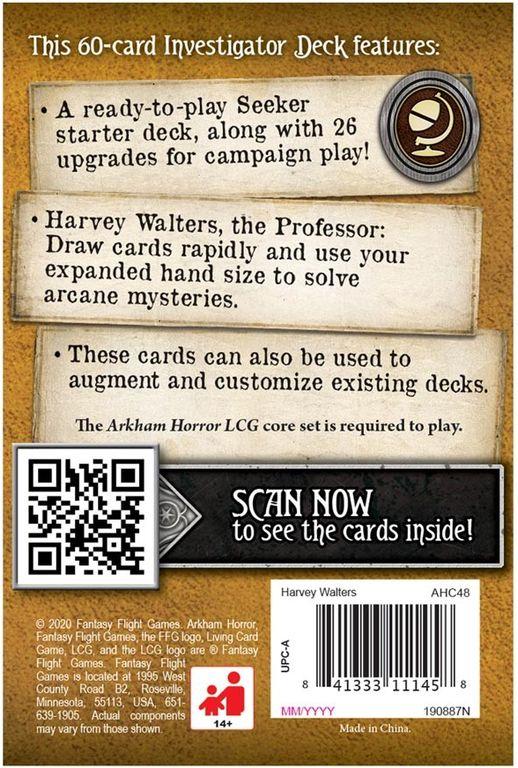 Arkham Horror: The Card Game – Harvey Walters: Investigator Starter Deck back of the box