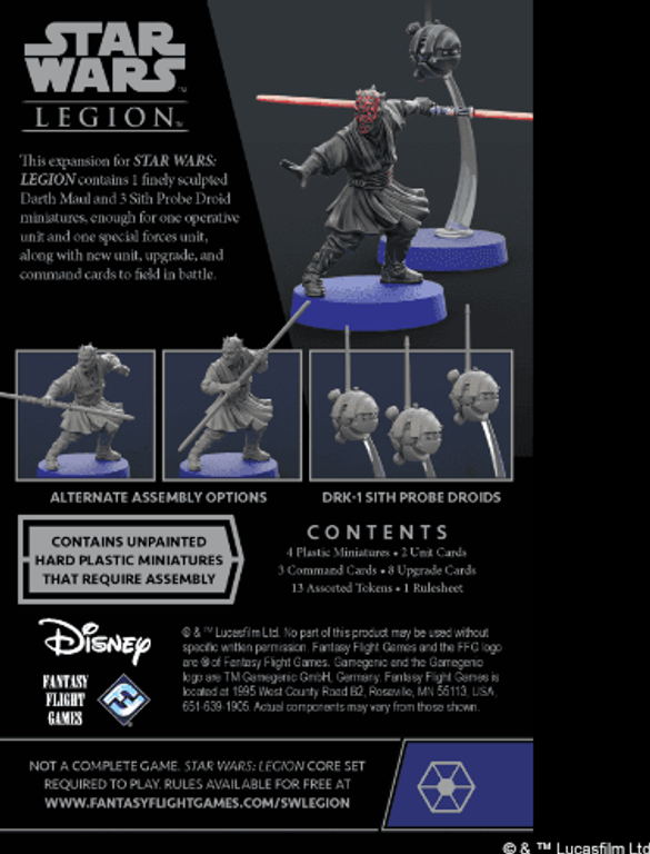 Star Wars: Legion – Darth Maul and Sith Probe Droids Operative Expansion back of the box