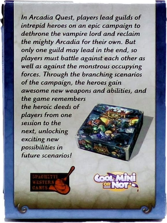 Arcadia Quest: Aeric back of the box