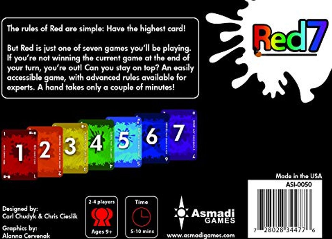 Red7 back of the box