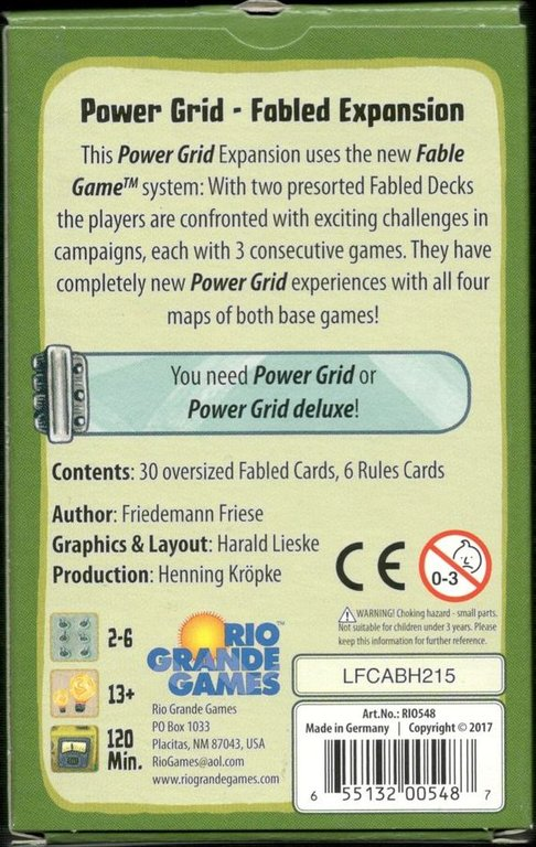 Power Grid: Fabled Expansion back of the box