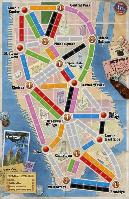 Ticket to Ride: New York game board