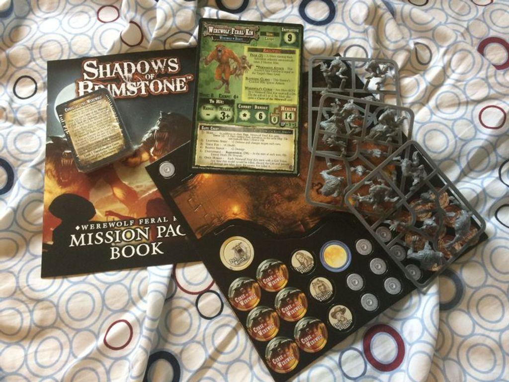 Shadows of Brimstone: Werewolf Feral Kin Mission Pack components