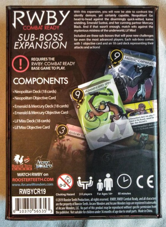 RWBY: Combat Ready - Sub-Boss Expansion back of the box