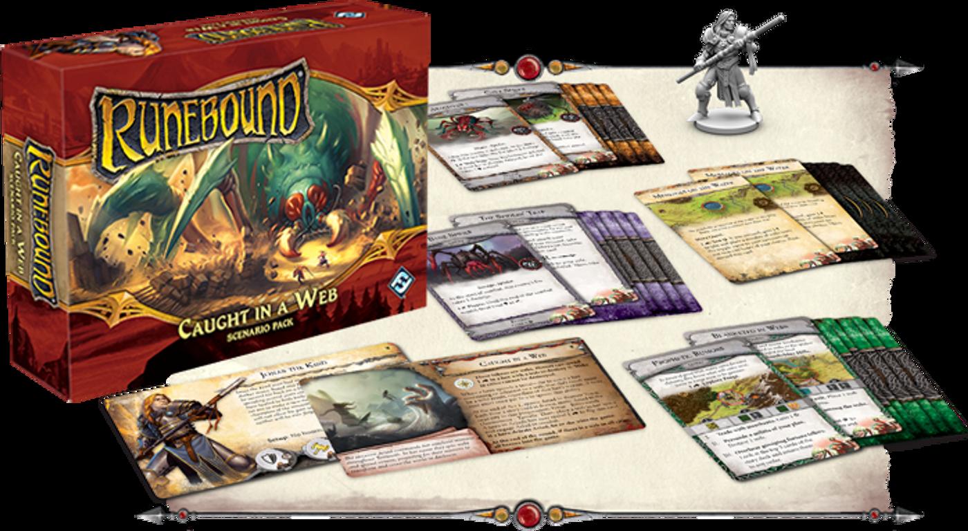 Runebound (Third Edition): Caught in a Web - Scenario Pack componenten