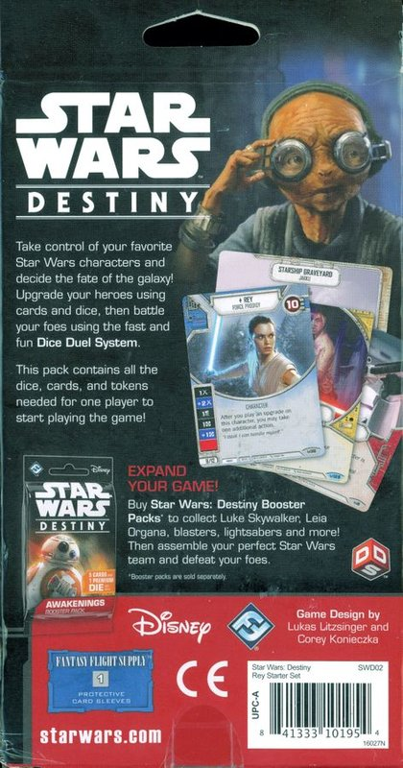 Star Wars: Destiny - Rey starter set back of the box