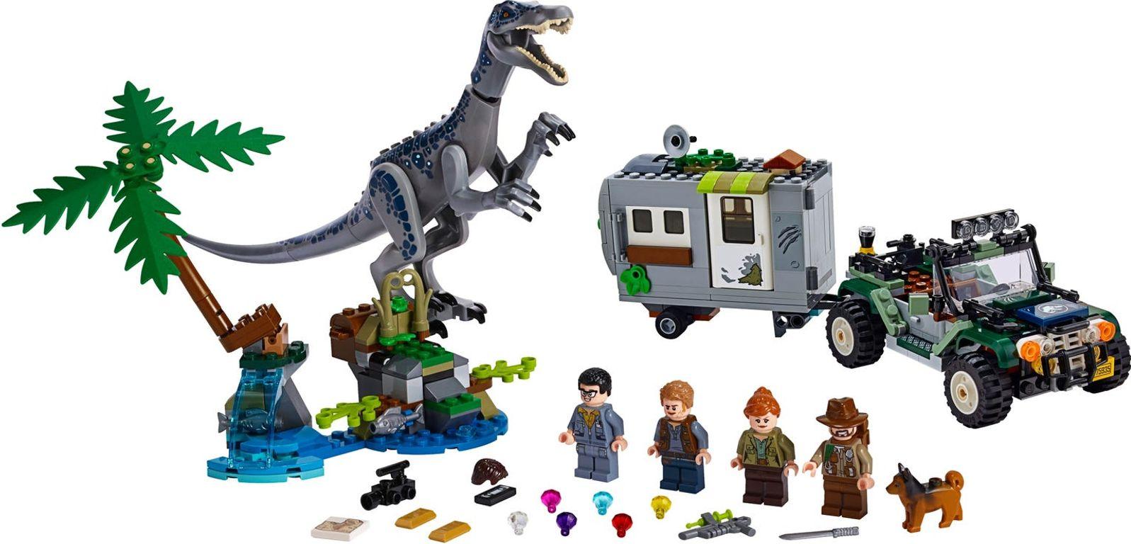 LEGO® Jurassic World Baryonyx Face-Off: The Treasure Hunt components