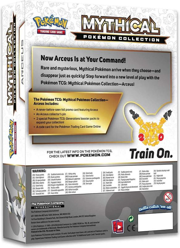 Arceus Mythical Pokémon Collection back of the box