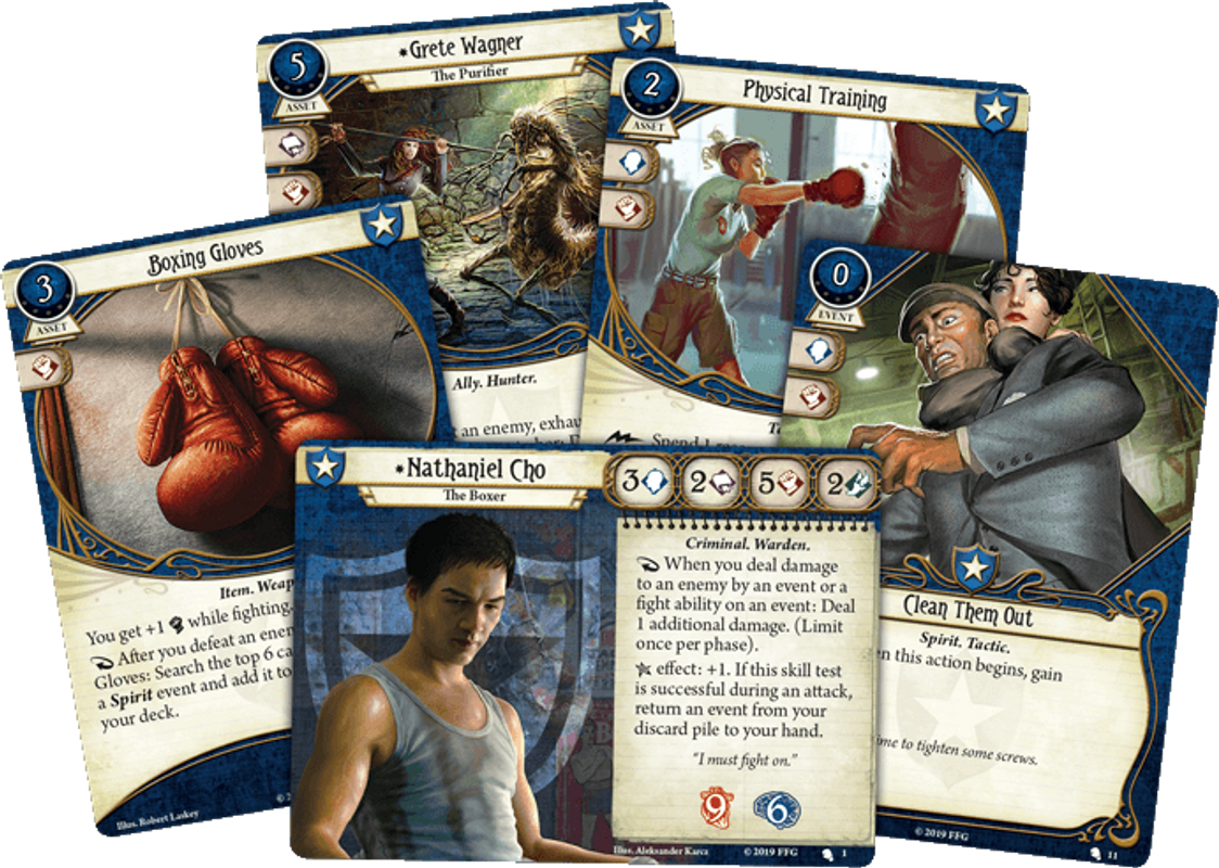 Arkham Horror: The Card Game - Nathaniel Cho: Investigator Starter Deck cards