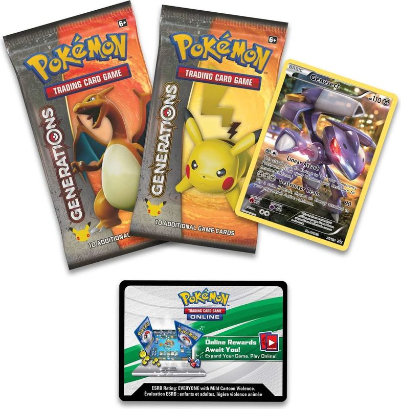 Pokémon Genesect Mythical Cards Collection Box components