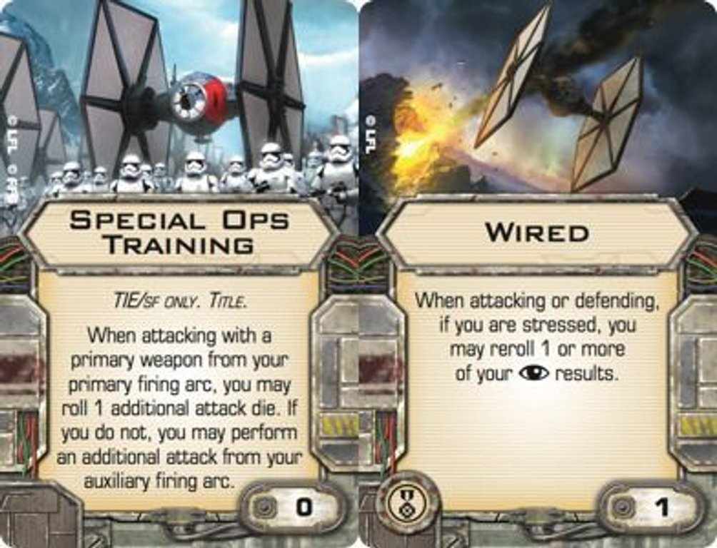 Star Wars: X-Wing Miniatures Game - Special Forces TIE Expansion Pack cards