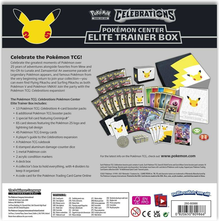 Pokémon TCG: Celebrations Elite Trainer Box back of the box