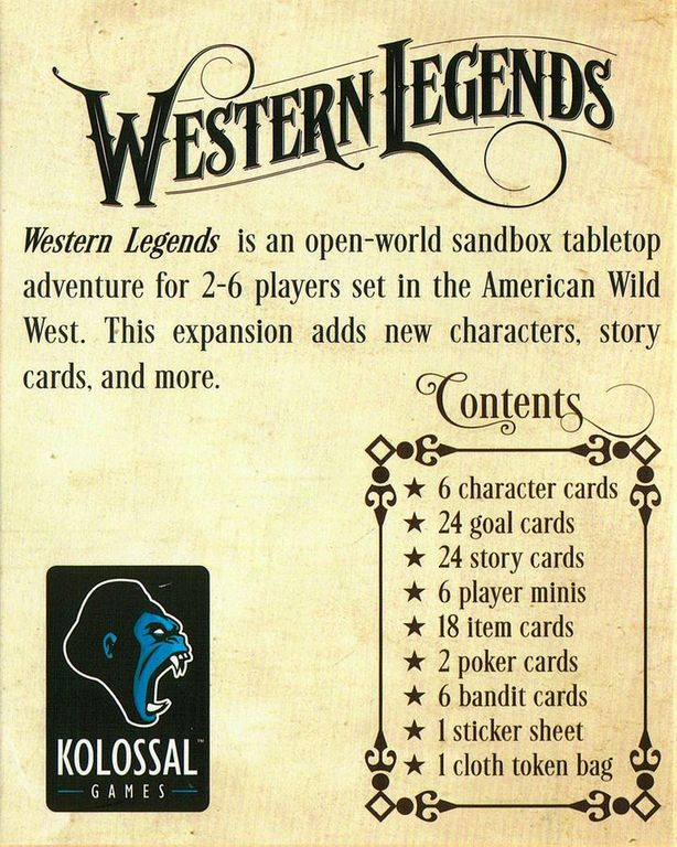 Western Legends: Fistful of Extras back of the box