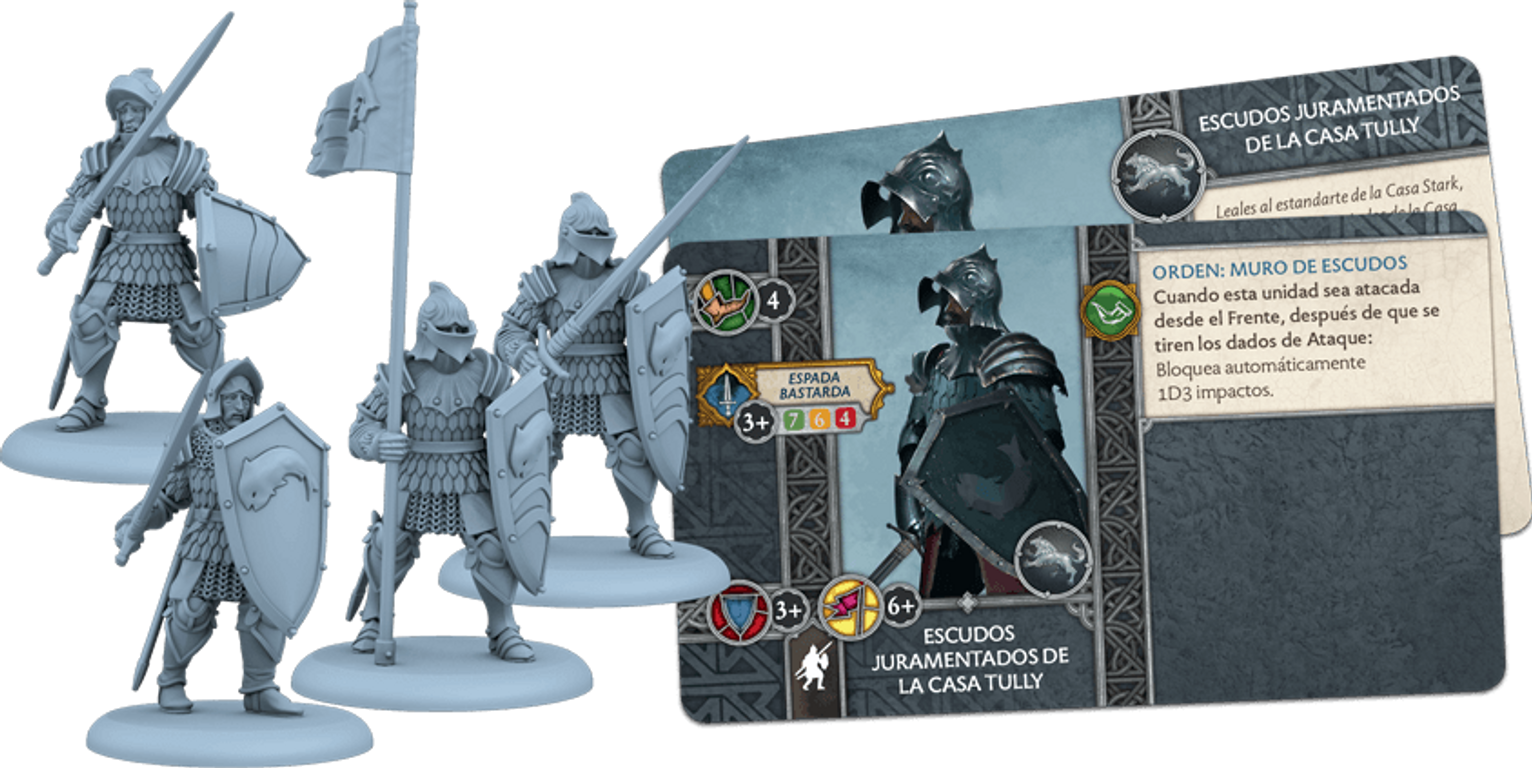 A Song of Ice & Fire: Tabletop Miniatures Game - Tully Sworn Shields components